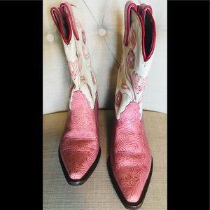 Tony Lama Pink/Ivory Western Boots